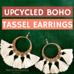 Upcycled boho tassel earrings. Make glamorous statement earrings from thrift store cast offs. Large gold filigree earrings with semi-circle of off-white tassels attached. Perfect for DIY gifts