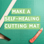 How to make a self-healing cutting mat directions, image of green masking tape applied to edge of finished panel